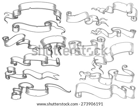 Scrolls, manuscripts and ribbon banners in vintage engraving style isolated on white background for heraldic or historical design - stock vector
