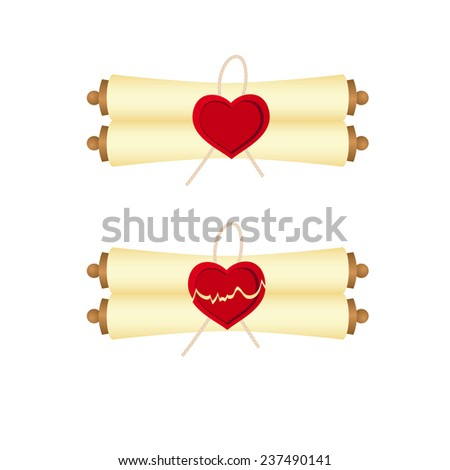 Scrolls with seal of heart's shape. Isolated on a white. Vector illustration - stock vector