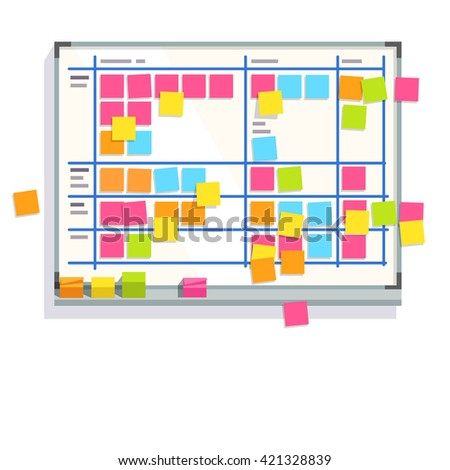 Scrum task board whiteboard hanging in a team room full of tasks on sticky note cards. Scrum board story test driven development process. Flat style color modern vector illustration. - stock vector