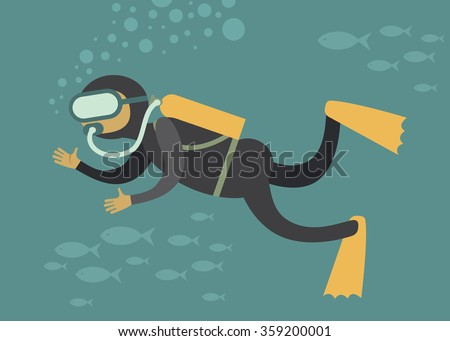 Scuba diver under water cartoon vector character  - stock vector