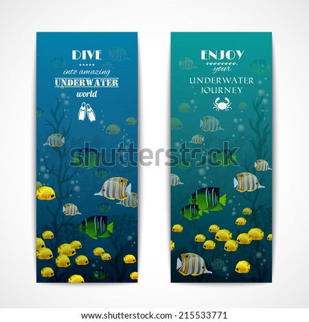 Scuba diving vertical banner set with fishes underwater isolated vector illustration - stock vector
