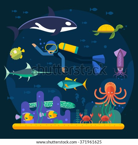Scuba diving with fishes and coral reef vector illustration. Diver and fishes vector illustration. Diving travel poster. Vacation time, activity diving man and travel concept - stock vector