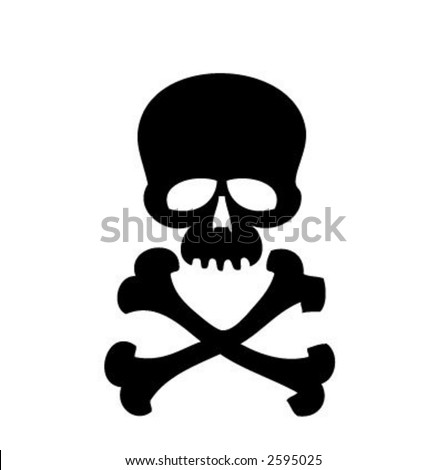 scull on white background - stock vector