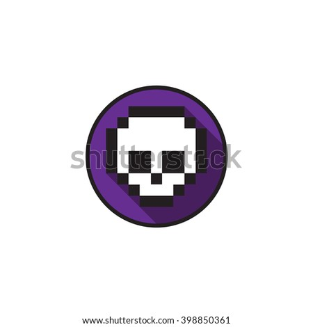 Scull, pixel, flat design, colors can be changed - stock vector