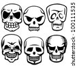 scull tattoos - stock vector