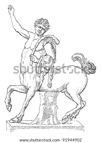 Sculpture of young centaur - greek - roman sculpture / vintage illustration from Meyers Konversations-Lexikon 1897 - stock vector