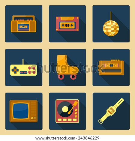 Se of flat icons on 80s theme for your design - stock vector