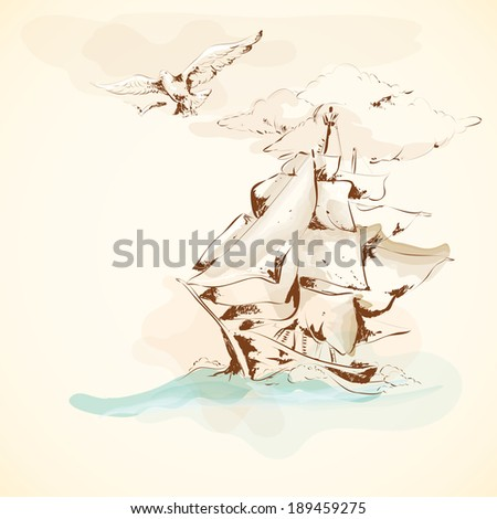 Sea adventure nautical design ancient sailboat pergament poster with seagull handdrawn vector illustration - stock vector