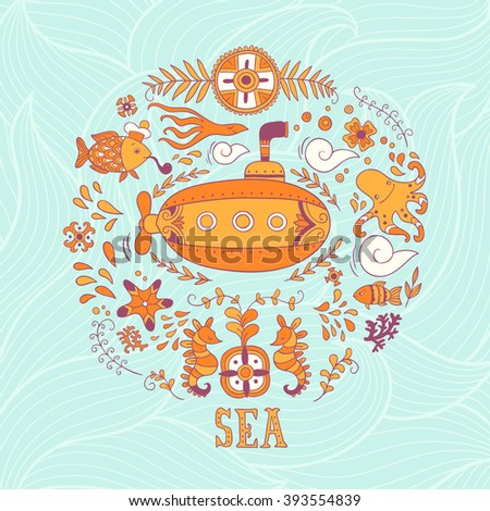 Sea adventure. vector hand drawn illustration - stock vector