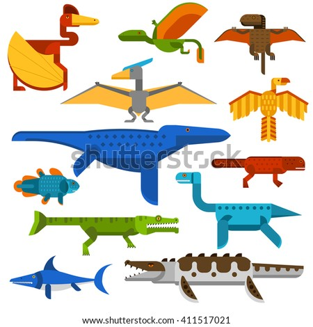 Sea and flying dinosaurs jungle forest wildlife animal vector illustration. Sea dinosaurs and danger flying dinosaurs. Reptile flying dinosaurs beast monstrous and sea wildlife animal cartoon vector. - stock vector