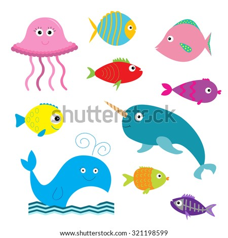 Sea and ocean animal set. Isolated. Fish, jellyfish, narwhal, whale, x-ray fish. Baby background. Flat design  Vector illustration