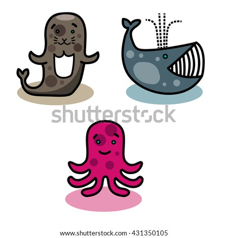 Sea and ocean animals - stock vector