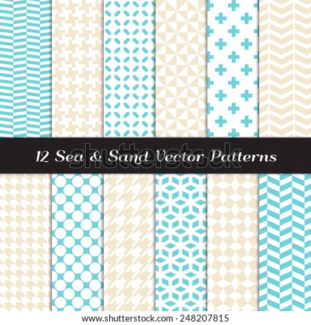 Sea and Sand Color Fashion Prints Patterns. Houndstooth, Herringbone, Triangle, Cross, Lattice, Polka Dot and Chevron Geometric Backgrounds. Vector File Pattern Swatches Made with Global Colors. - stock vector