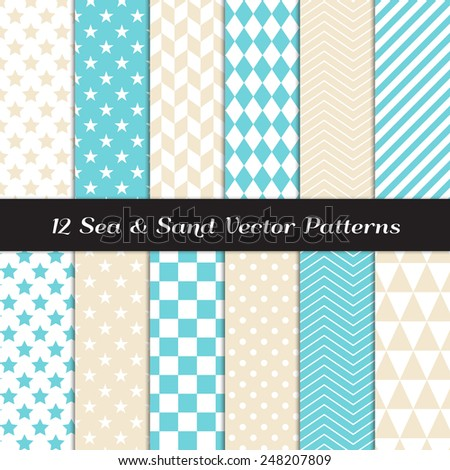 Sea and Sand Color Geometric Patterns. Backgrounds in Aqua Blue and Beige Diamond, Chevron, Polka Dot, Checks, Stars, Triangles, Herringbone & Stripes. Vector File Pattern Swatches with Global Colors. - stock vector