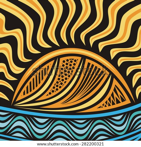 Sea and sun beautiful nature pattern background vector illustration - stock vector