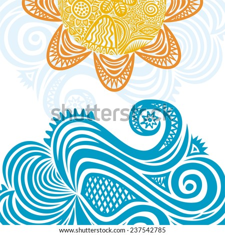 Sea and sun nature pattern background vector illustration - stock vector