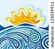 Sea and sun pattern vector illustration - stock vector