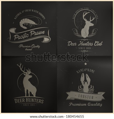 Sea and wild animal badges - stock vector