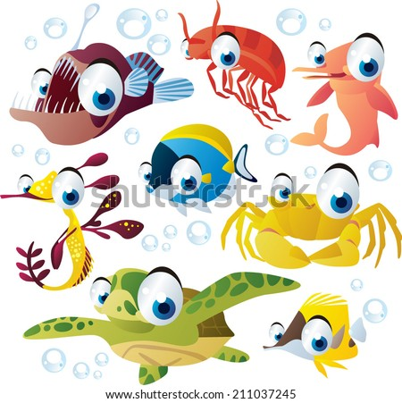 Sea animal set: fish, turtle, dolphin, crab, angler - stock vector