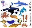sea animals - stock vector