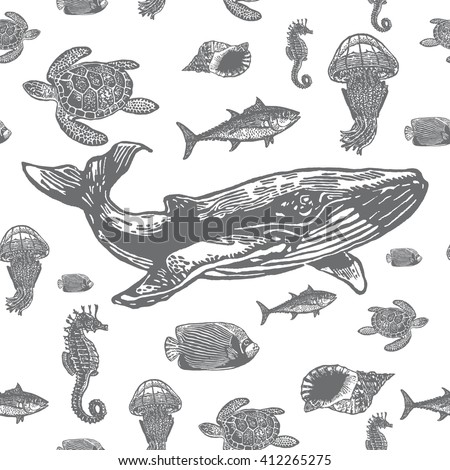 Sea animals black and white seamless vector pattern. Realistic engraved style of Sea animals on white background. - stock vector