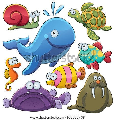 Sea Animals Collection - stock vector