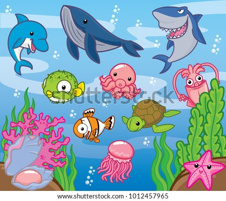 Sea animals, cute vector