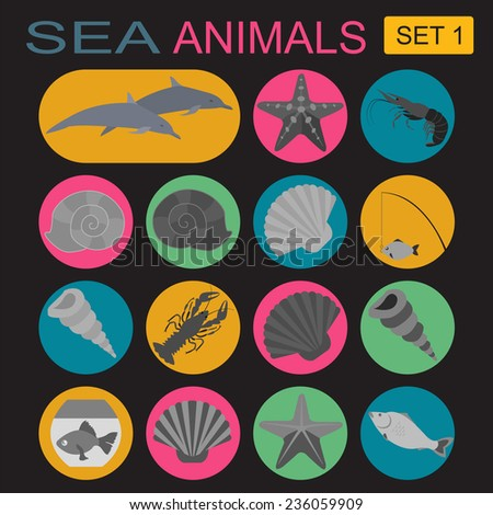 Sea animals icon. Vector illustration