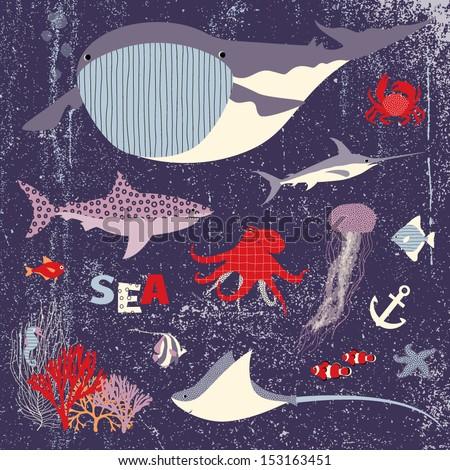 Sea animals set - stock vector