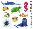 Sea Animals Set Of Bright Color Cartoon Style Vector Illustrations Isolated On White Background - stock vector
