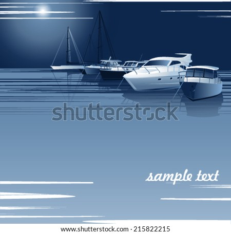 Sea bay with yachts in the moonlit night - stock vector