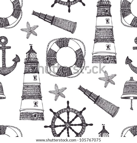 Sea black pattern - stock vector