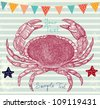 Sea blue striped illustration with crab - stock vector