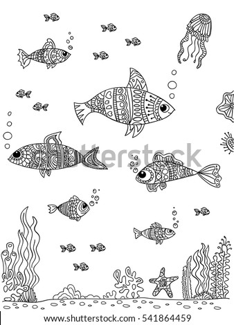 Sea bottom in doodle style. Coloring book page. Black and wight.