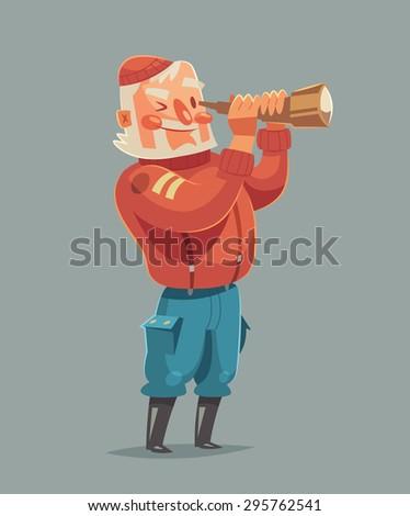 Sea captain. Vector illustration. - stock vector