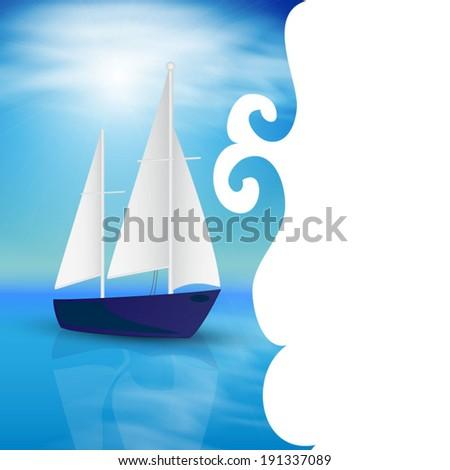 Sea card design.  - stock vector