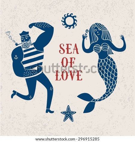 Sea cartoon illustration with sailor and mermaid in love. Hand drawn postcard - stock vector