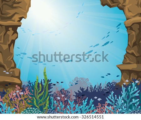 Sea cave and colorful coral reef with silhouette of fish on a blue background. Underwater sea world. Vector seascape illustration. - stock vector