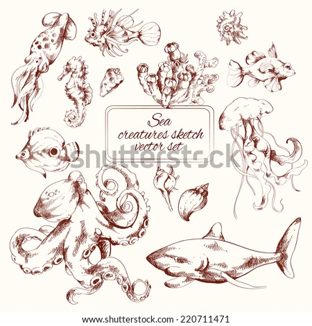 Sea creatures sketch decorative icons set isolated vector illustration - stock vector
