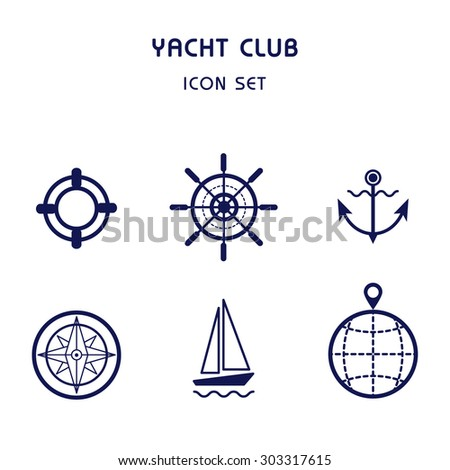 Sea cruise illustration. Marine sport collection. Sailing yacht logo isolated.