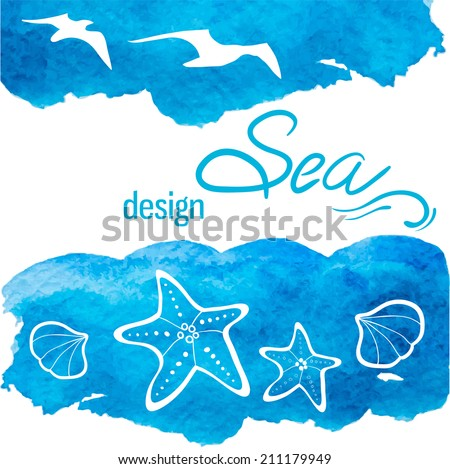 Sea design template. Watercolor background and marine themed elements - stock vector
