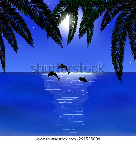 sea, dolphins, bright moon, palm leaves on foreground, vector illustration - stock vector