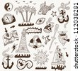 sea - doodles collection ( set icons in sketch style ) - stock photo
