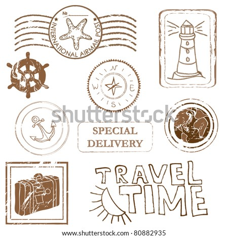 Sea elements - Vector rubber stamp collection - stock vector