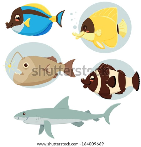 Sea Fish Collection - stock vector