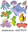 Sea fishes and animals collection 2 - vector illustration. - stock vector