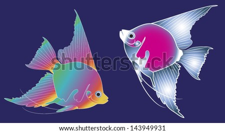 Sea fishes vector illustration on dark-blue background.