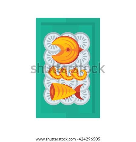 sea food and salad yellow color - stock vector