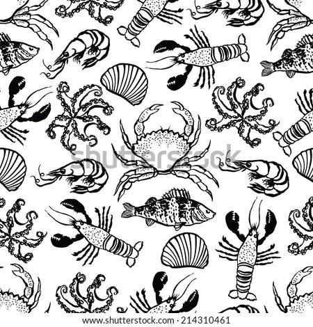 Sea Food background - stock vector