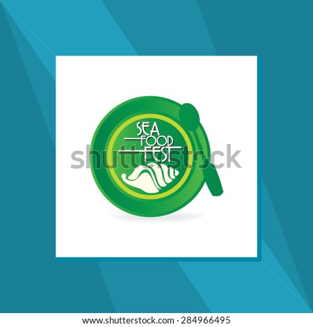 sea food concept with food plate vector illustration  - stock vector